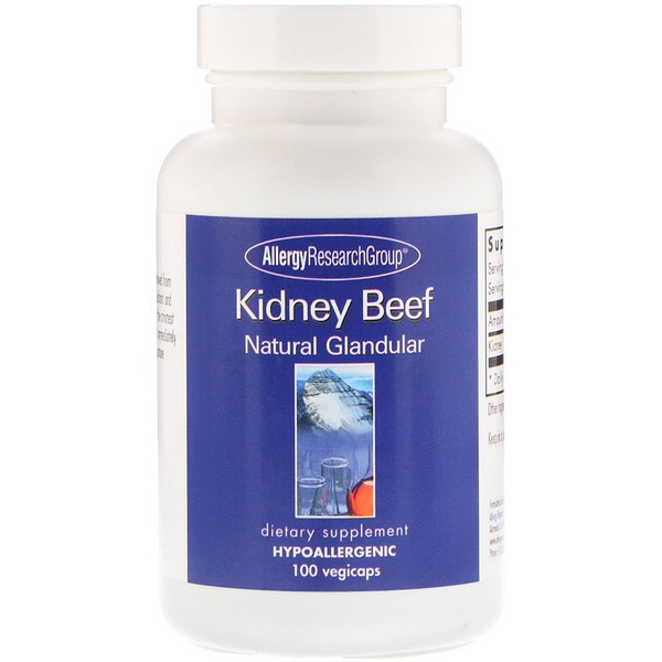 Kidney Beef Natural Glandular 100 Vegicaps Allergy Research Group