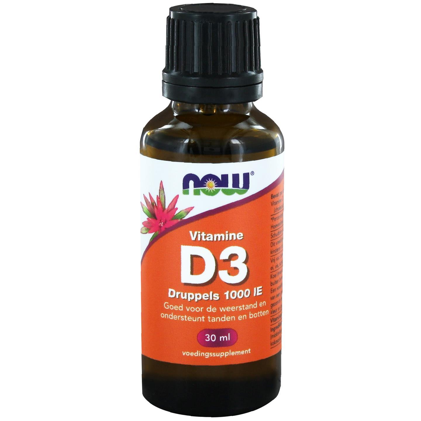 Vitamine D3 druppels 1000 IE (30 ml) NOW Foods