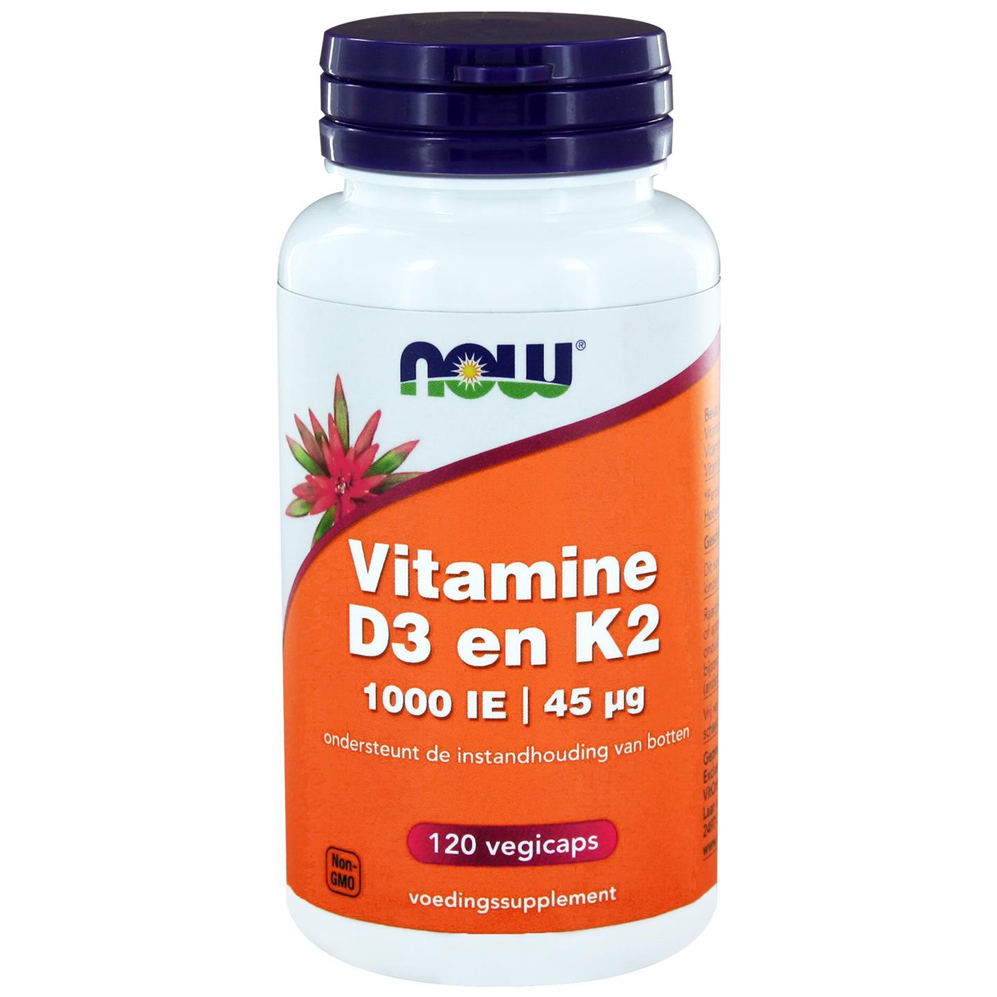 Vitamine D3 1000 IE Vitamine K2 (120 veggie caps) Now Foods
