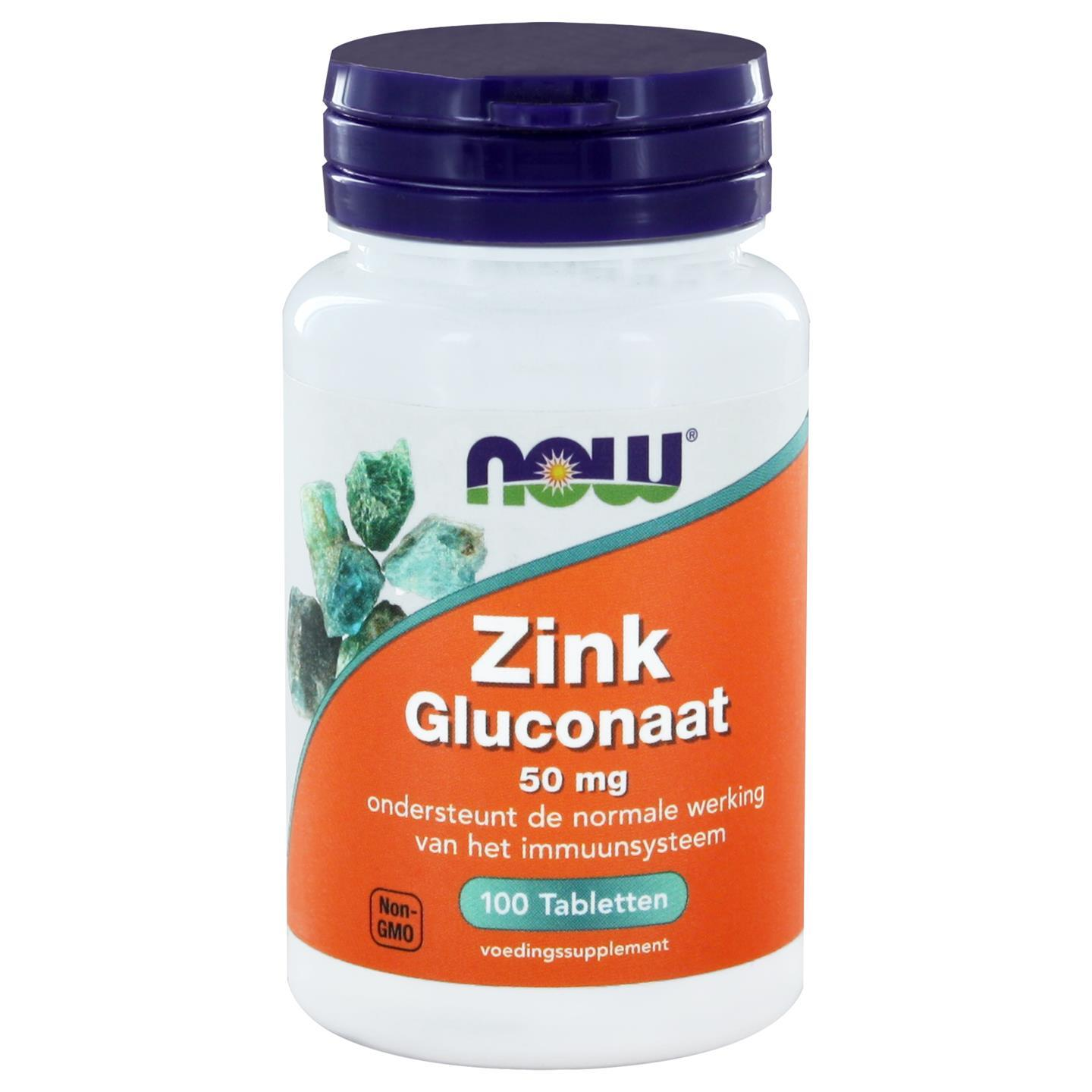 Zink Gluconaat 50 mg (100 tabs) NOW Foods