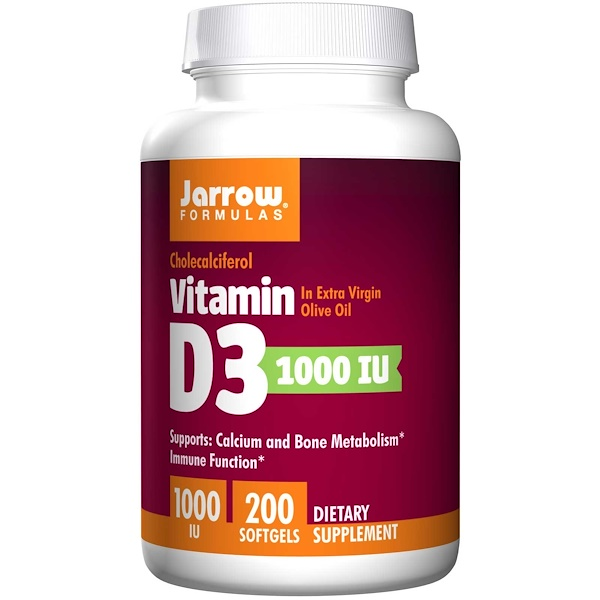 Vitamin D3 1000 IU (200 softgels) Jarrow Formulas