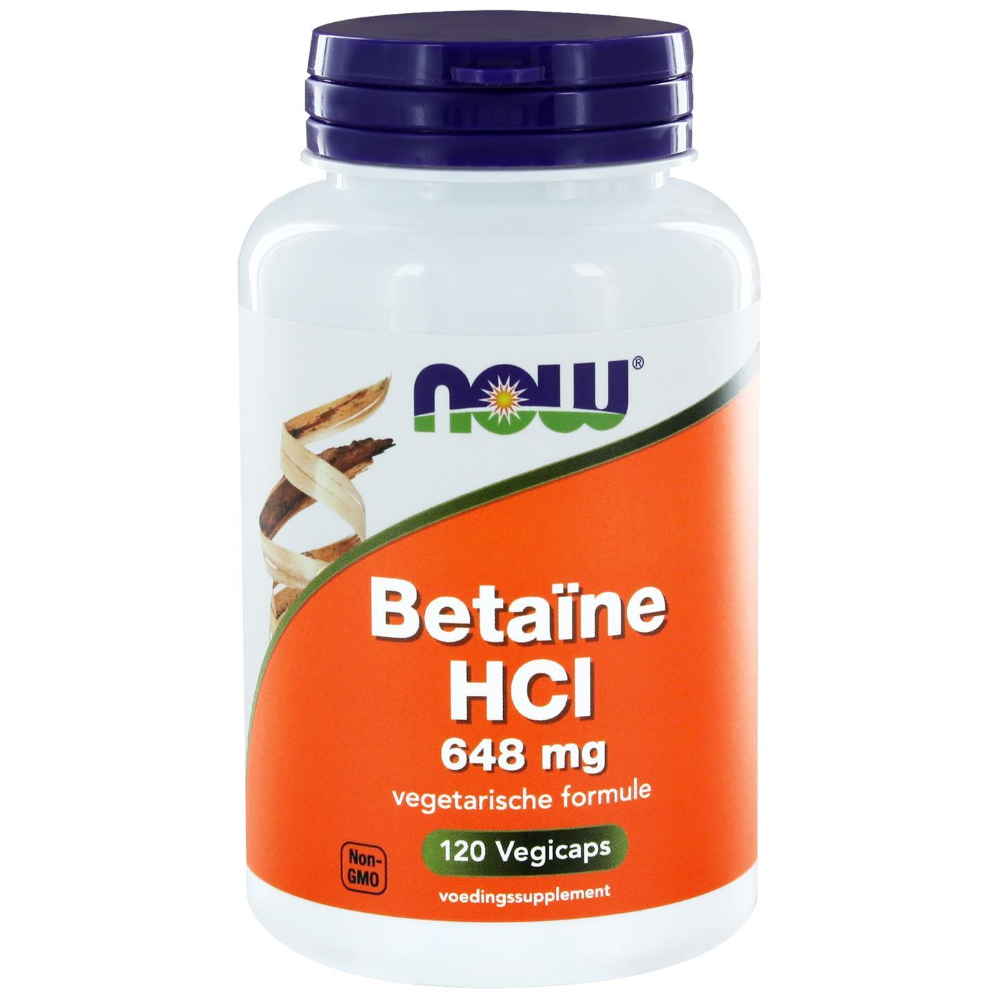 Betaïne HCl 648 mg (120 caps) NOW Foods