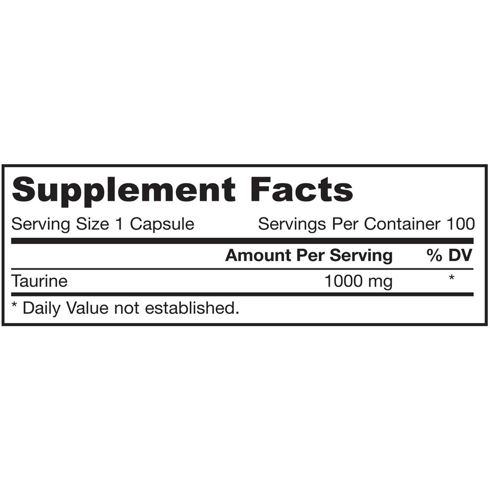 Jarrow Formulas Taurine 1000 mg (100 Capsules) Jarrow Formulas