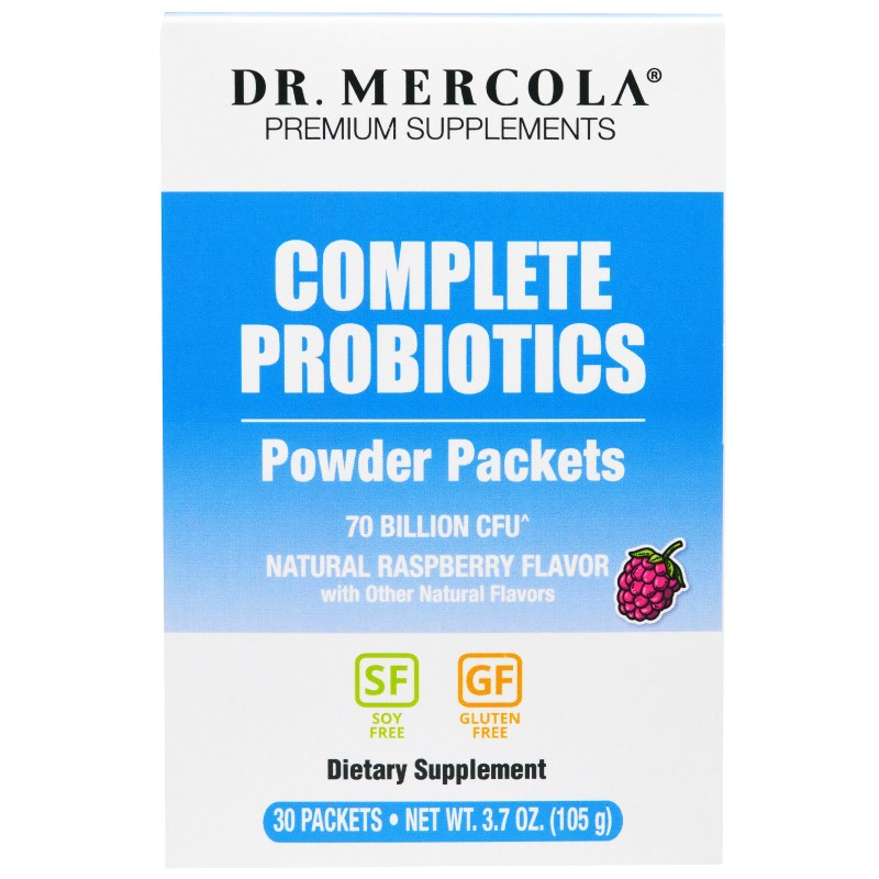 Complete Probiotics Powder Packets Natural Raspberry Flavor, 30 Packets (3.5 g each) Dr. Mercola