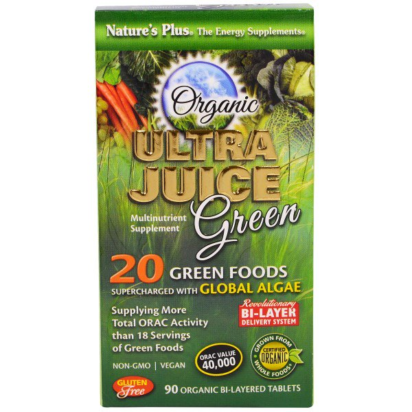 Organic Ultra Juice Green (90 Organic Bi Layered Tablets) Nature apos s Plus