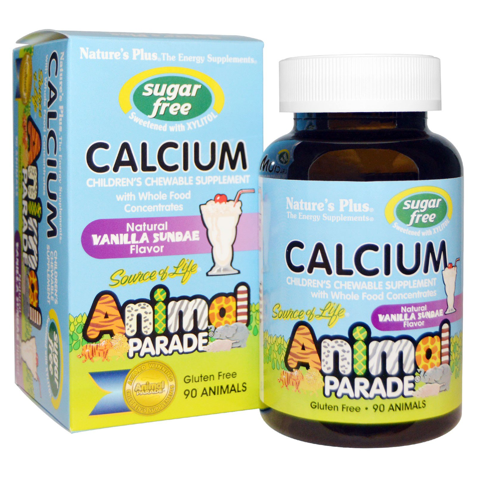 Calcium, Sugar Free, Natural Vanilla Sundae Flavor (90 Animals) Nature apos s Plus