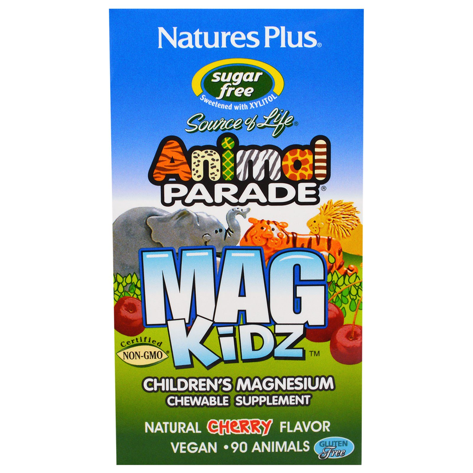 MagKidz, Children apos s Magnesium, Natural Cherry Flavor (90 Animals) Nature apos s Plus