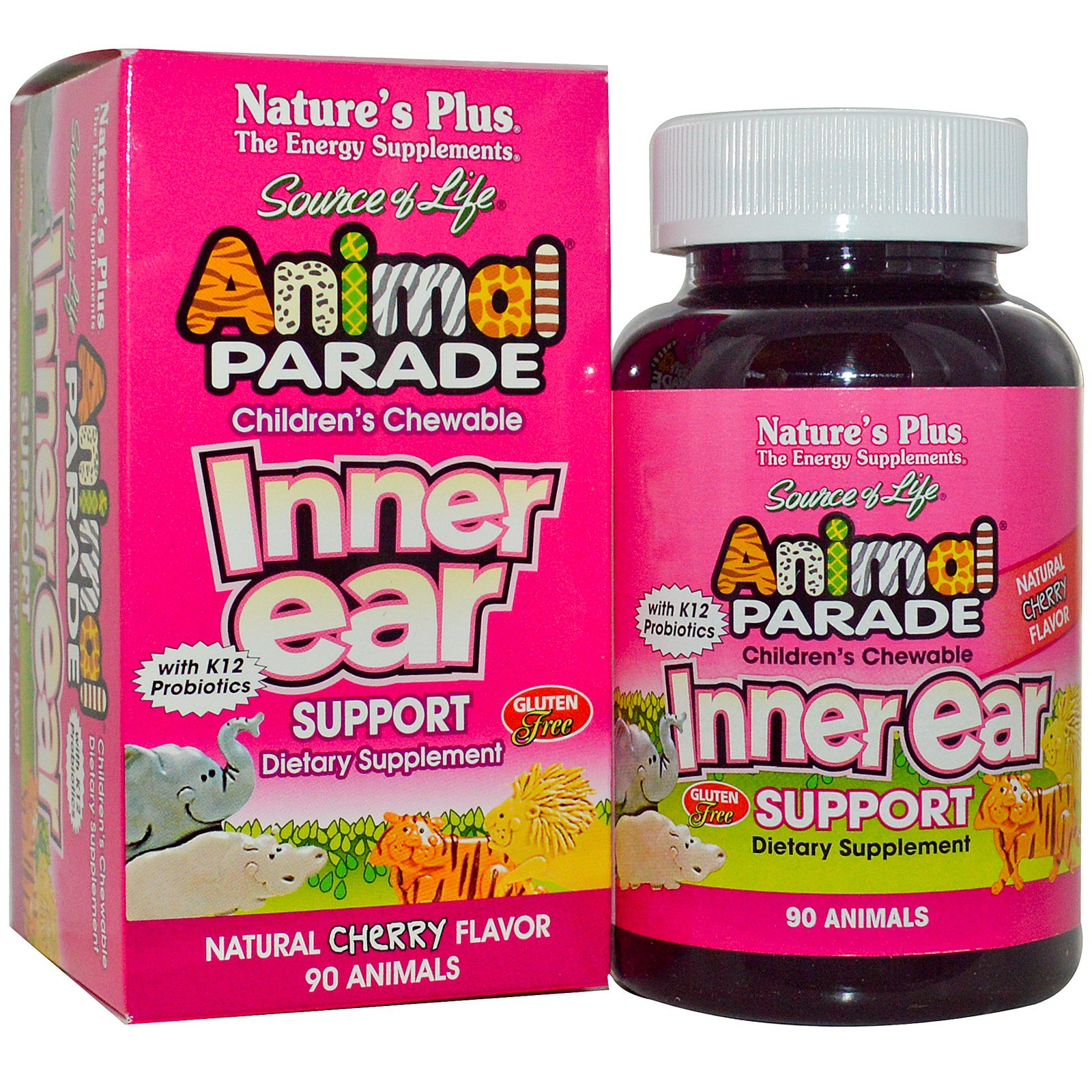 Children apos s Chewable Inner Ear Support, Natural Cherry Flavor (90 Animals) Nature apos s Plus