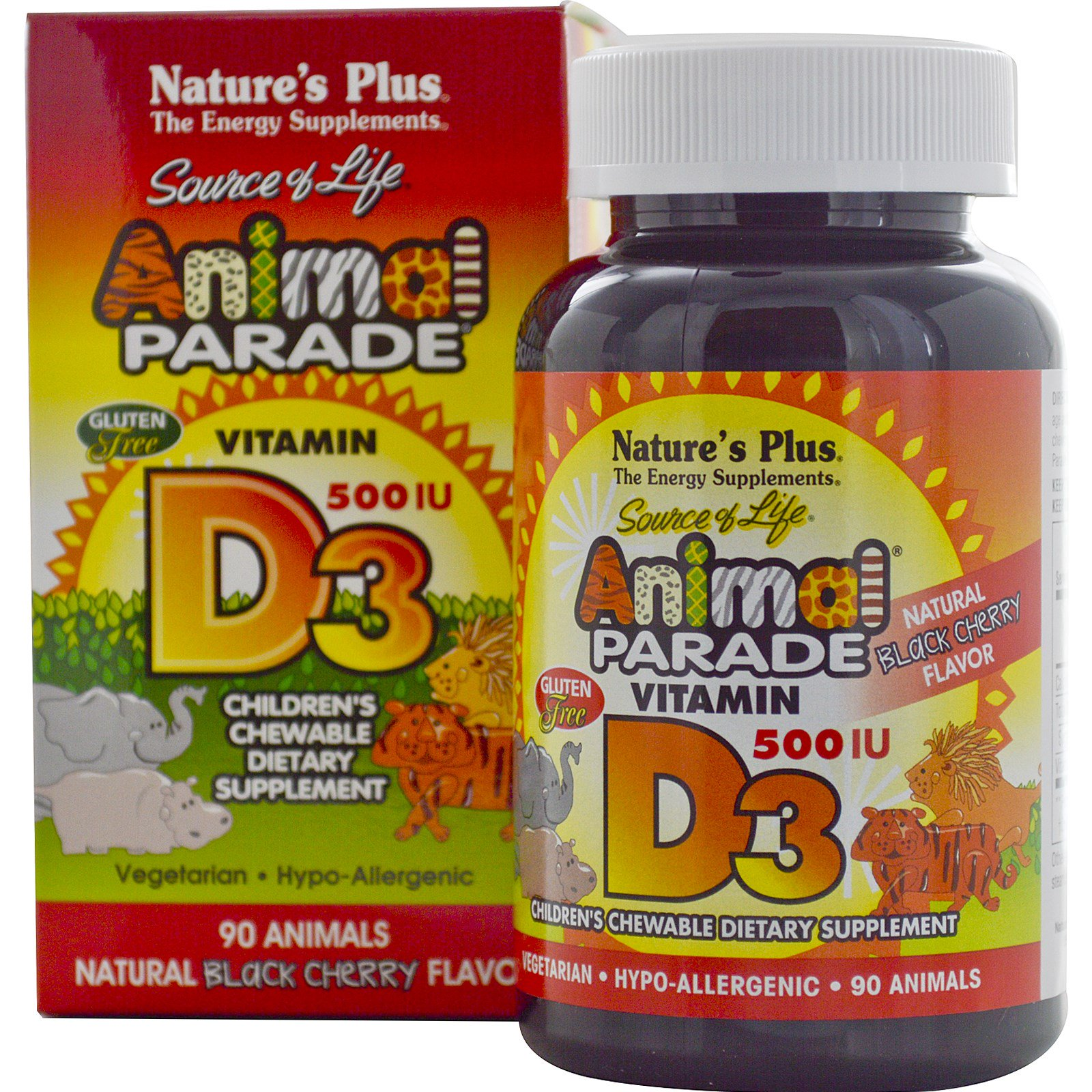 Vitamin D3, Natural Black Cherry Flavor, 500 IU (90 Animals) Nature apos s Plus
