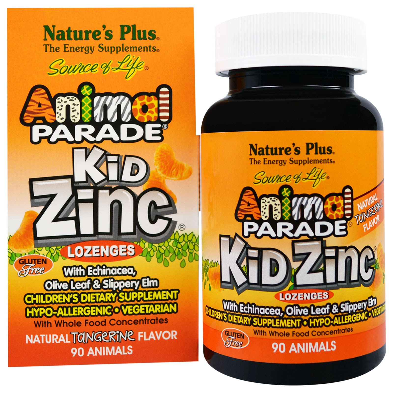 Kid Zinc Lozenges, Natural Tangerine Flavor (90 Animals) Nature apos s Plus