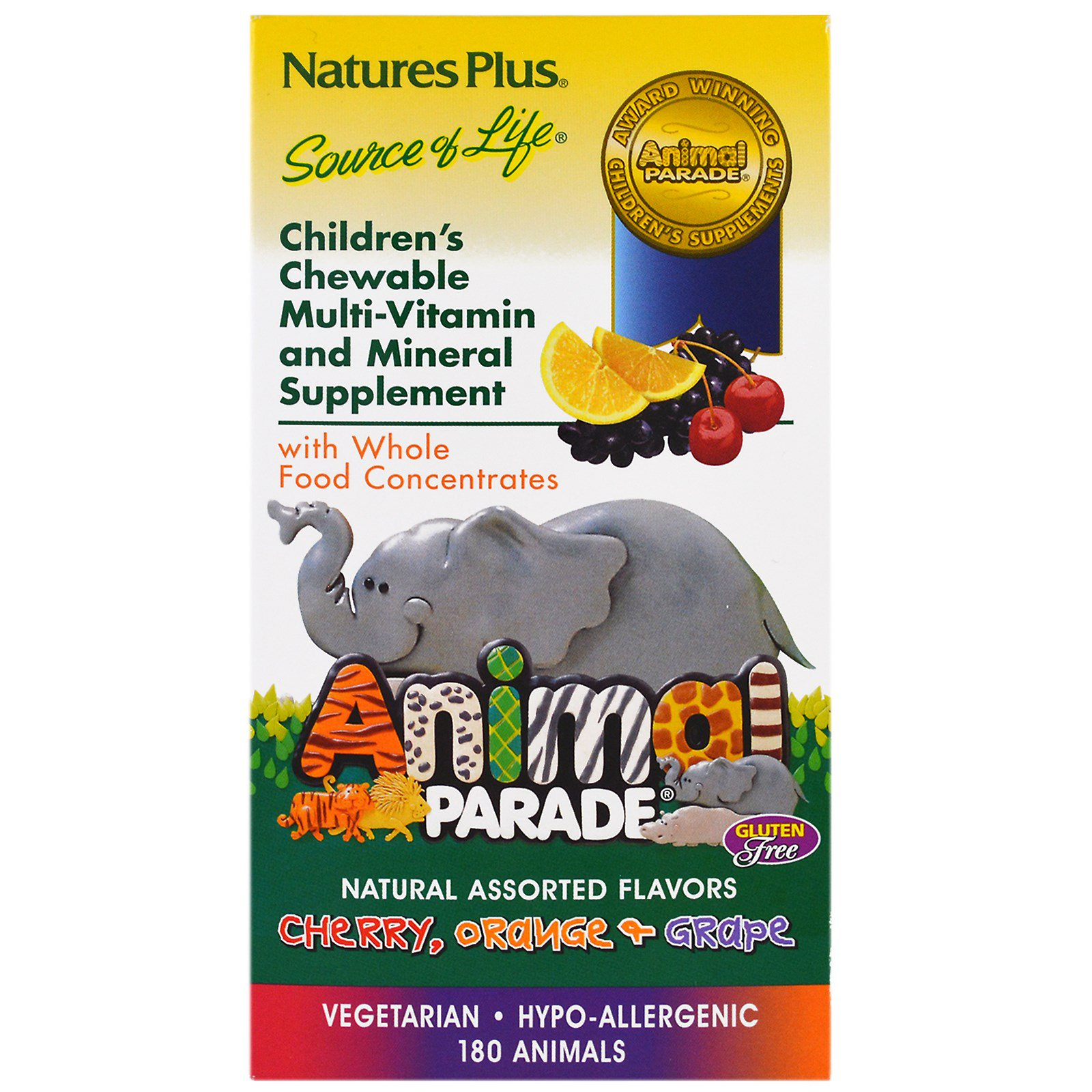 Children apos s Chewable Multi Vitamin Mineral, Assorted Flavors (180 Animals) Nature apos s Plus