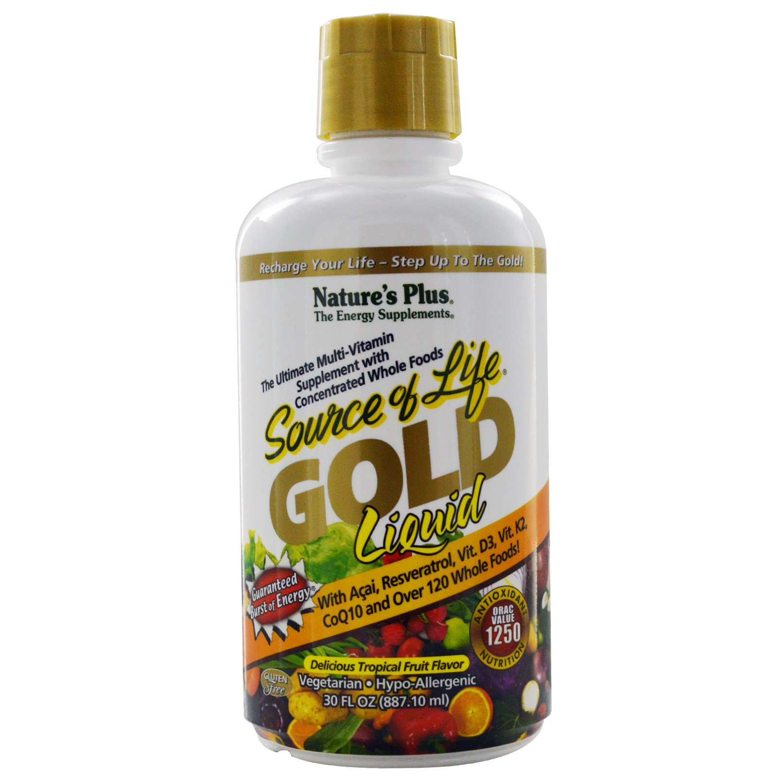 Gold Liquid, Delicious Tropical Fruit Flavor (887 ml) Nature apos s Plus Nature apos s Plus