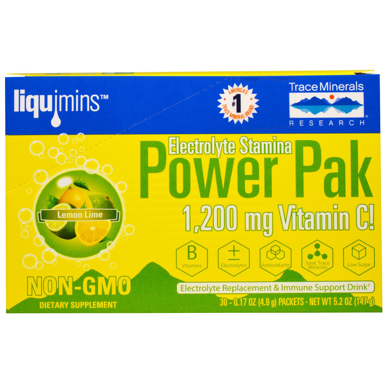 Electrolyte Stamina, Power Pak, Lemon Lime (30 Packets, 4.9 g Each) Trace Minerals Research