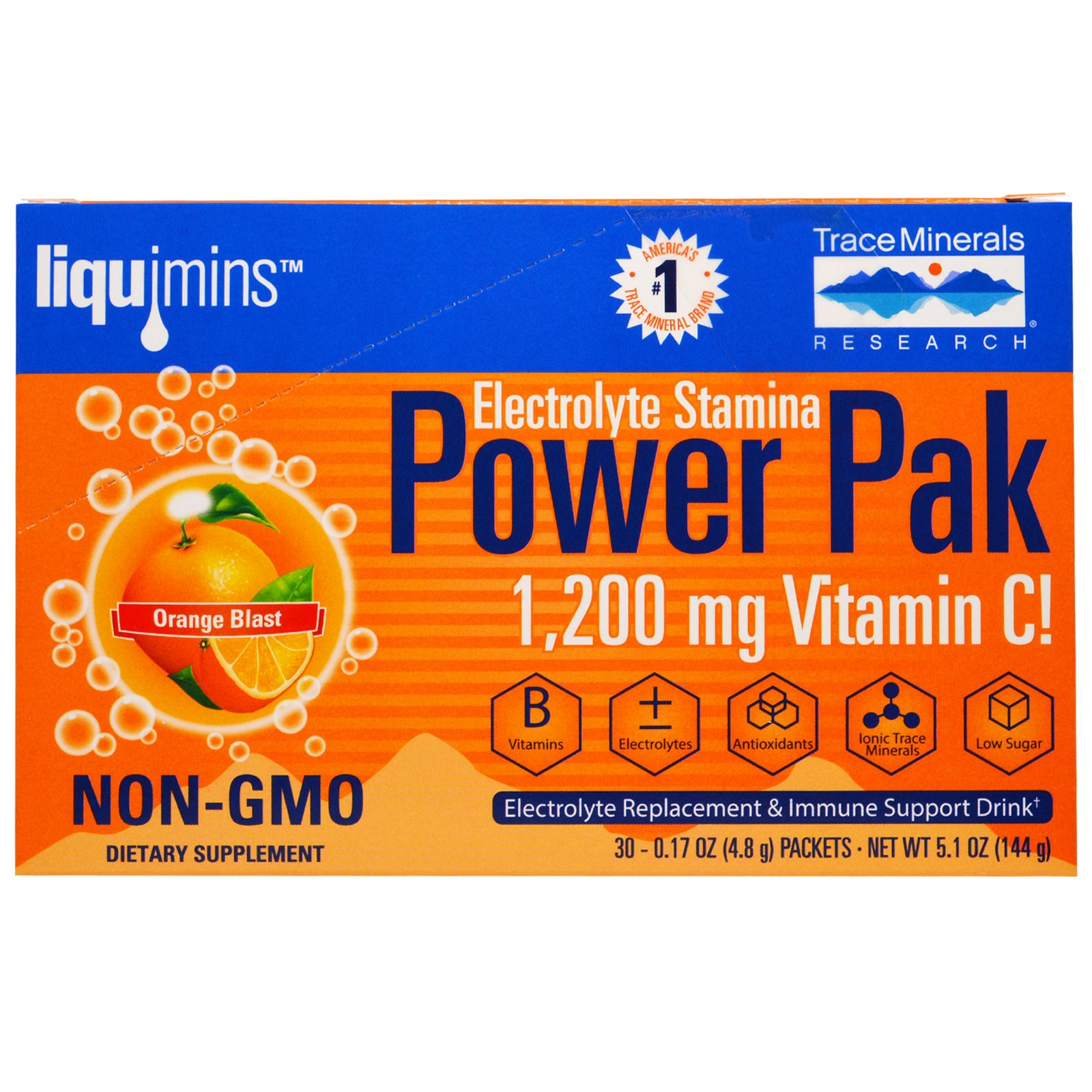 Electrolyte Stamina, Power Pak, Orange Blast (30 Packets, 4.8 g Each) Trace Minerals Research
