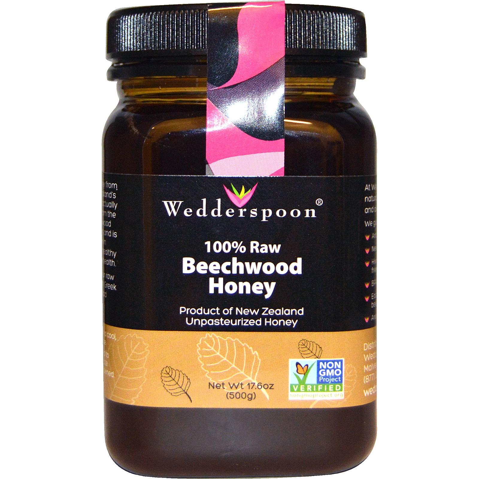 Foto van 100% Raw Beechwood Honey (500 gram) - Wedderspoon Organic