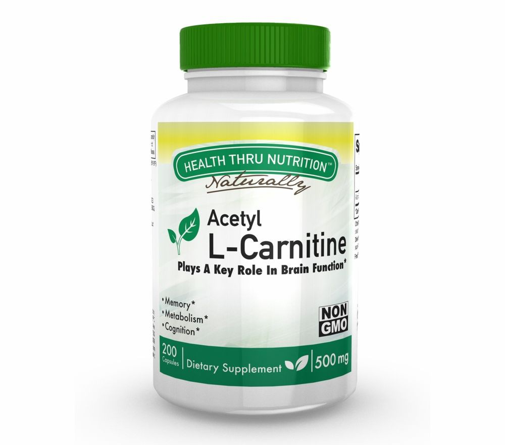 Acetyl L Carnitine 500mg (non GMO) (200 Vegicaps) Health Thru Nutrition