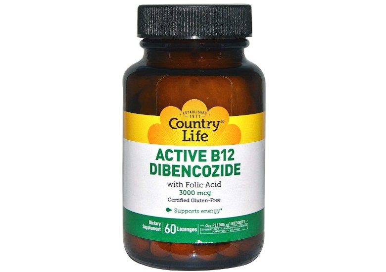 Active B12 Dibencozide 3000 mcg (60 Lozenges) Country Life