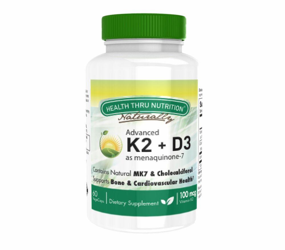 K2 (100 mcg as Menaquinone 7) + D3 (1000iu) (60 Vegicaps) - Health Thru Nutrition