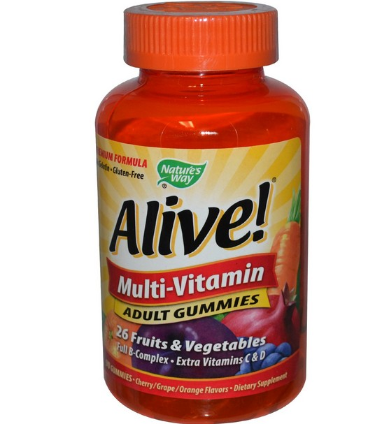 Alive! multi vitamine voor volwassenen, fruit smaak (90 Gummies) Nature apos s Way