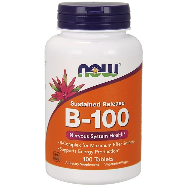 B 100 Sustained Release (100 tablets) Now Foods