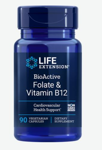 BioActive Folate and Vitamin B12 (90 Veggie Capsules) Life Extension