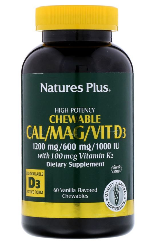 Cal Mag Vit D3 Vanilla Flavored (60 Chewable Tablets) Nature apos s Plus