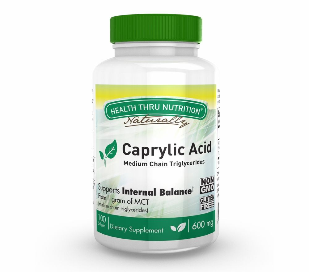 Caprylic Acid 600 mg (non GMO) (100 Softgels) Health Thru Nutrition