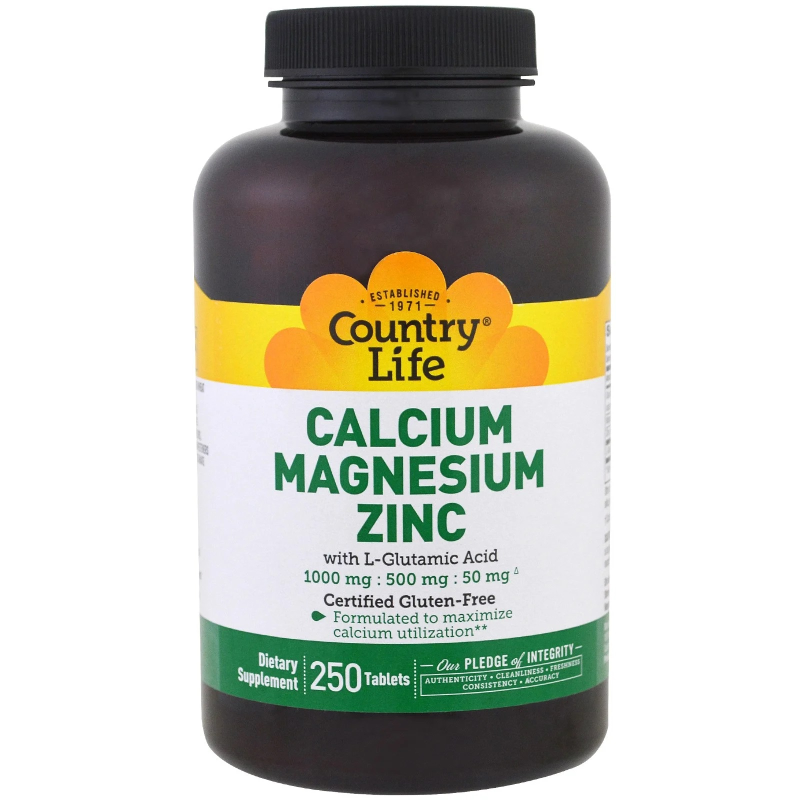 Calcium Magnesium Zinc (250 Tablets) Country Life