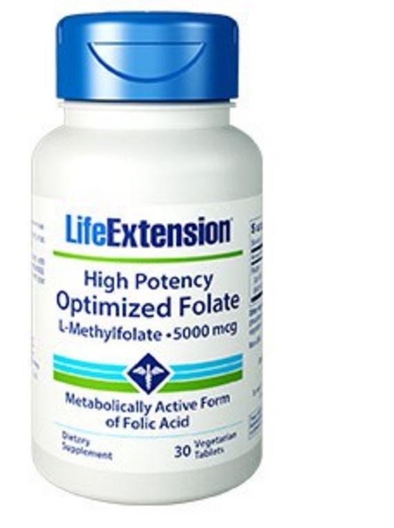 Hoge concentratie geoptimaliseerd Foliumzuur (L methylfolaat) 5000 Mcg 30 vegetarische tabletten
