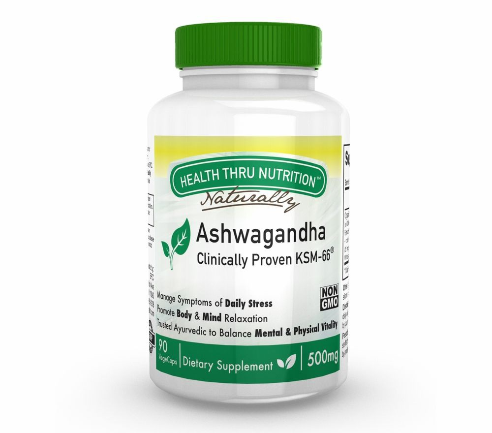 Ashwagandha KSM 66 500mg (non GMO) (90 Vegicaps) Health Thru Nutrition