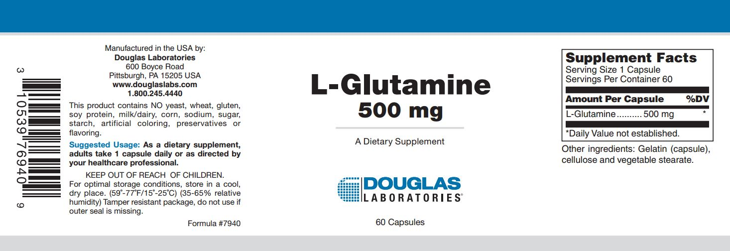 L Glutamine 500 mg (60 capsules) Douglas Laboratories