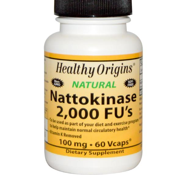 Nattokinase, 2000 FU apos s, 100 mg (60 vegetarische capsules) Healthy Origins