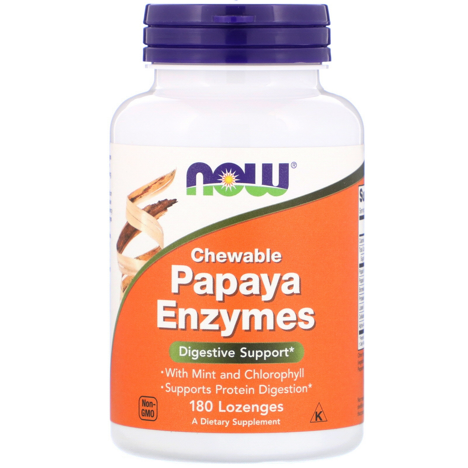 Chewable Papaya Enzymes (180 lozenges) Now Foods