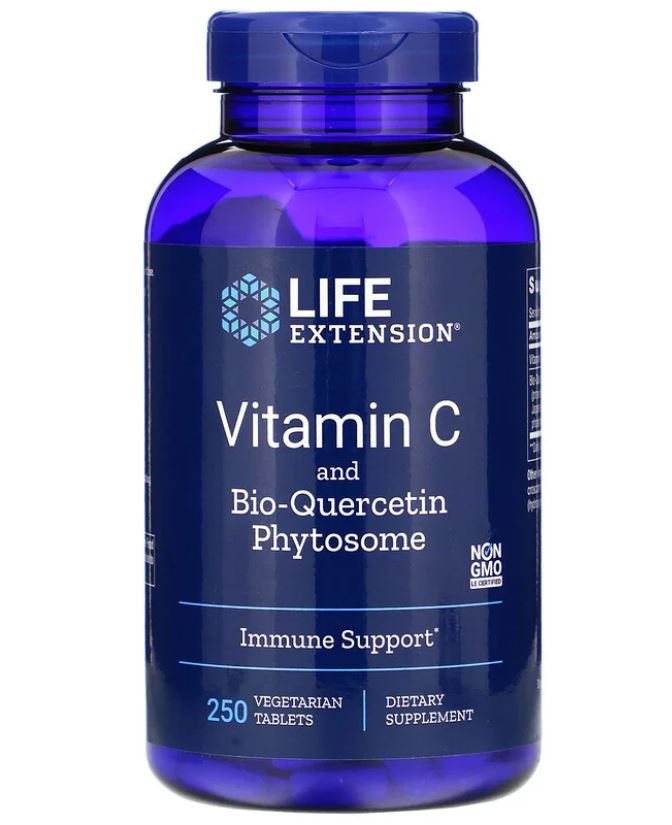 Vitamin C with and Bio Quercetin Phytosome 250 Vegetarian Tablets Life Extension