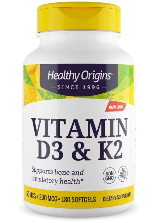 Vitamin D3 K2, 50mcg 200mcg, 180 Softgels, Healthy Origins